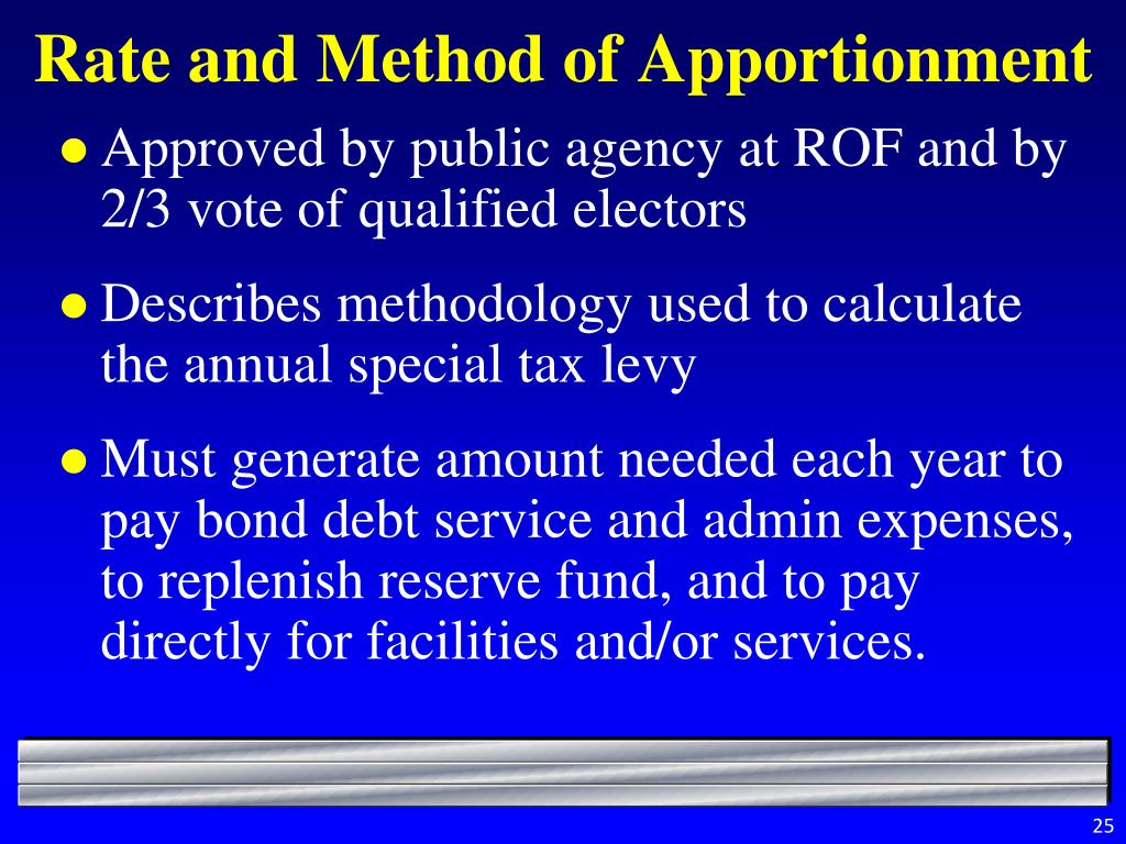 Rate and Method of Apportionment