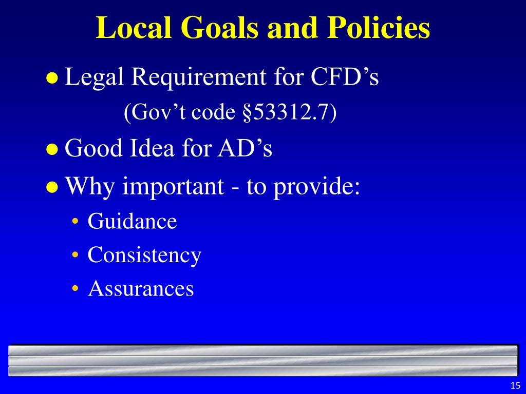 Local Goals and Policies