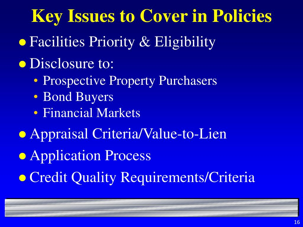 Key Issues to Cover in Policies