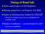 timing of bond sale