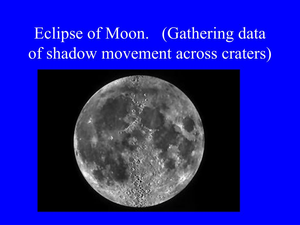 Eclipse of Moon.   (Gathering data of shadow movement across craters)