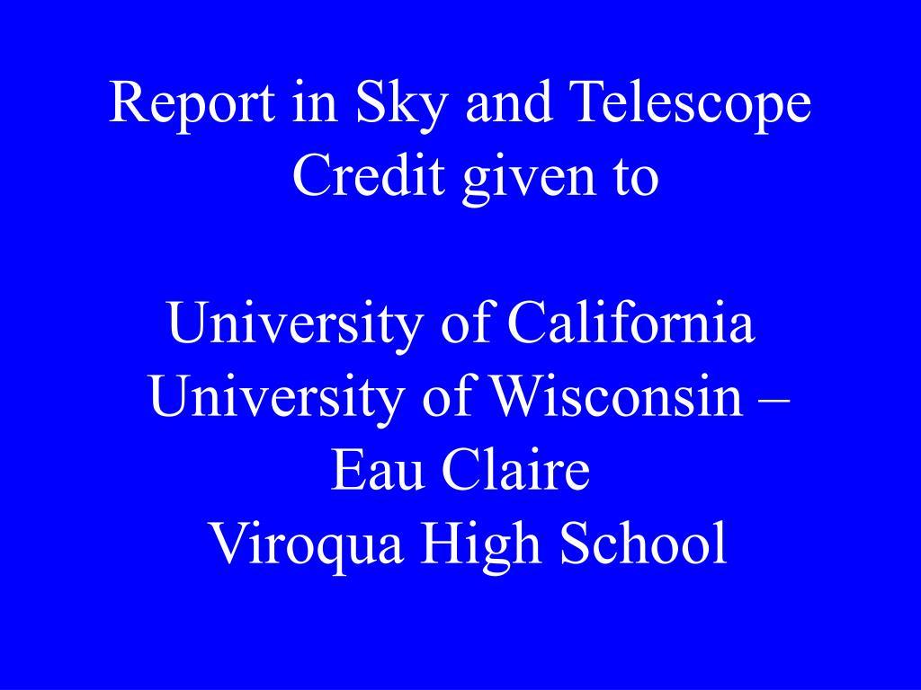 Report in Sky and Telescope
