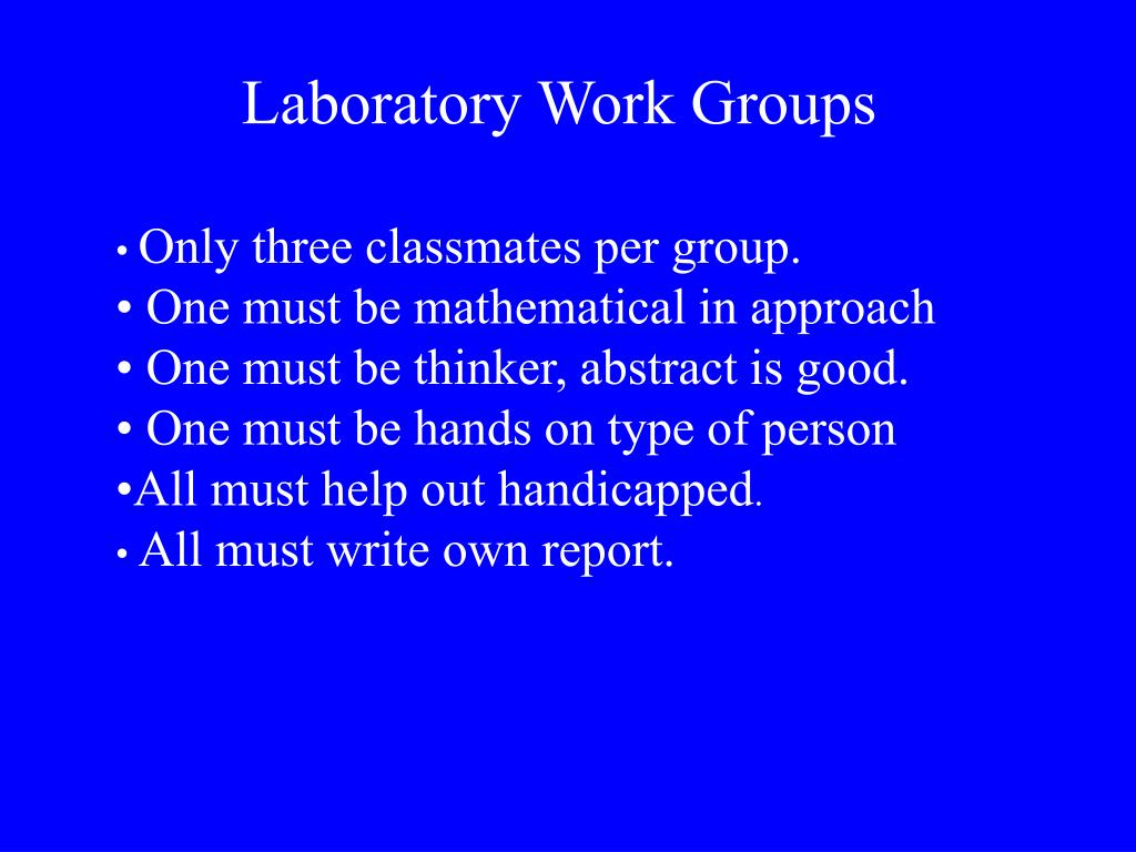Laboratory Work Groups