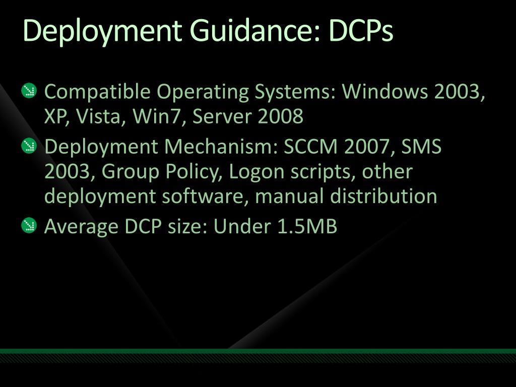 Deployment Guidance: DCPs