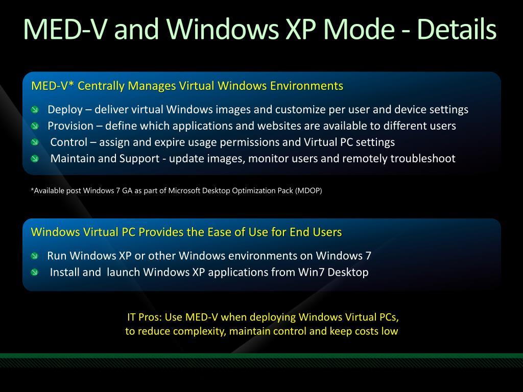MED-V and Windows XP