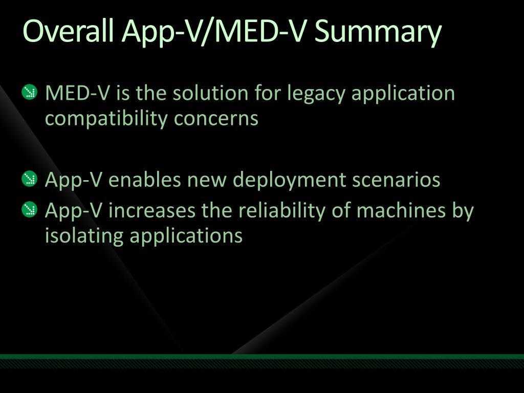 Overall App-V/MED-V Summary