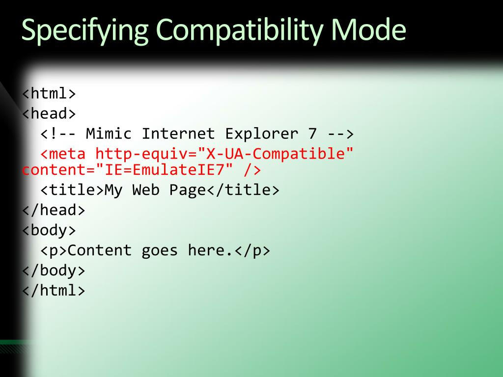 Specifying Compatibility Mode