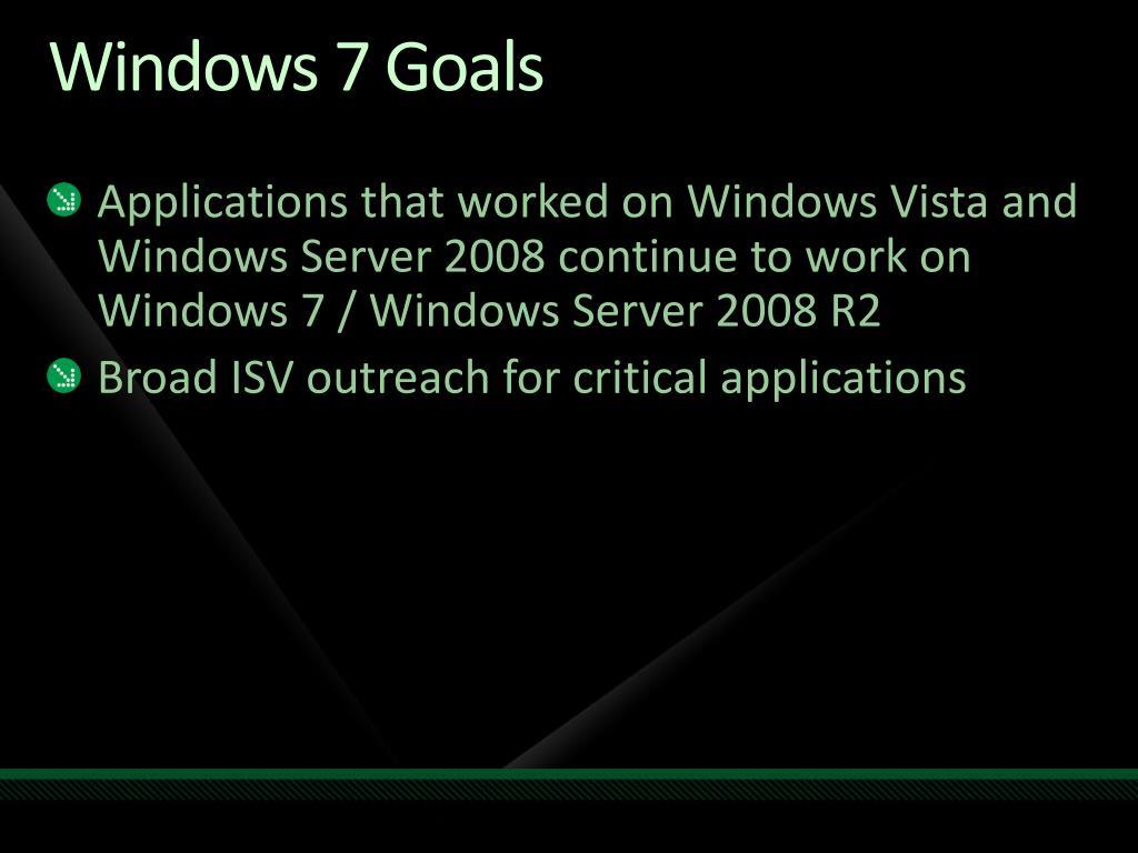 Windows 7 Goals
