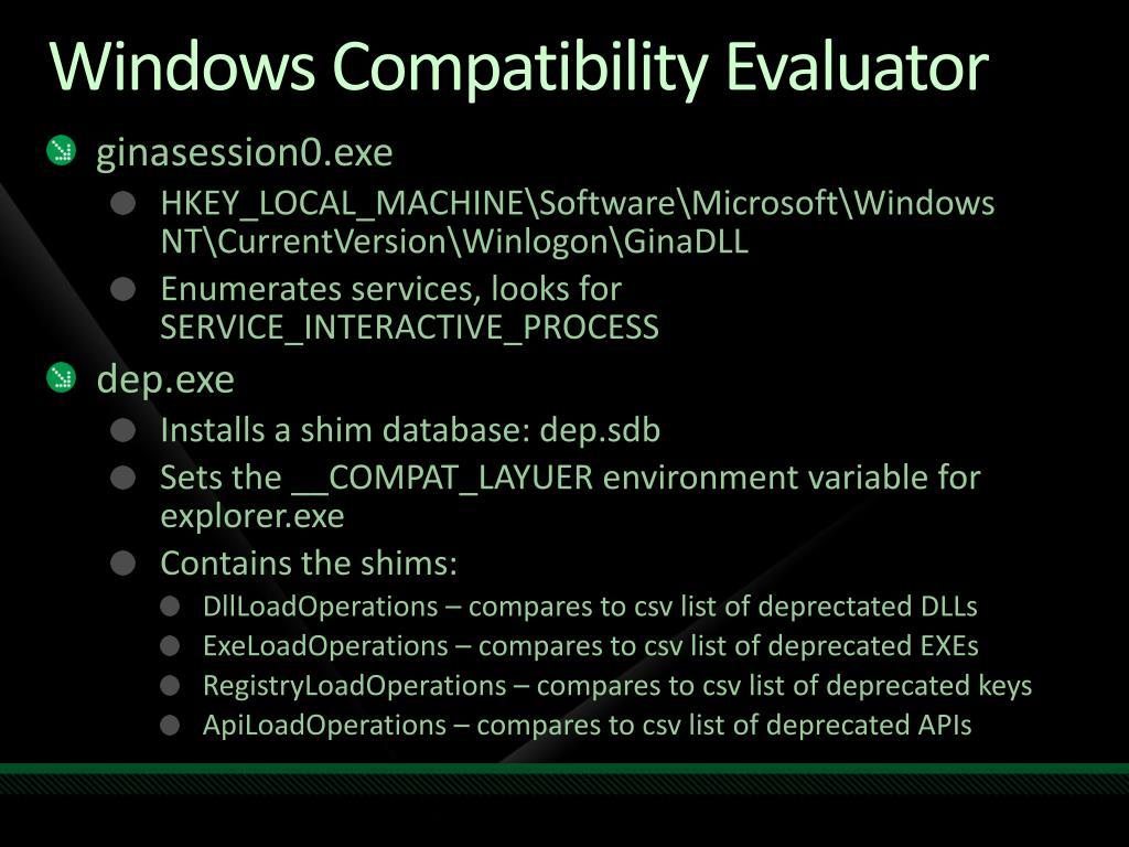 Windows Compatibility Evaluator