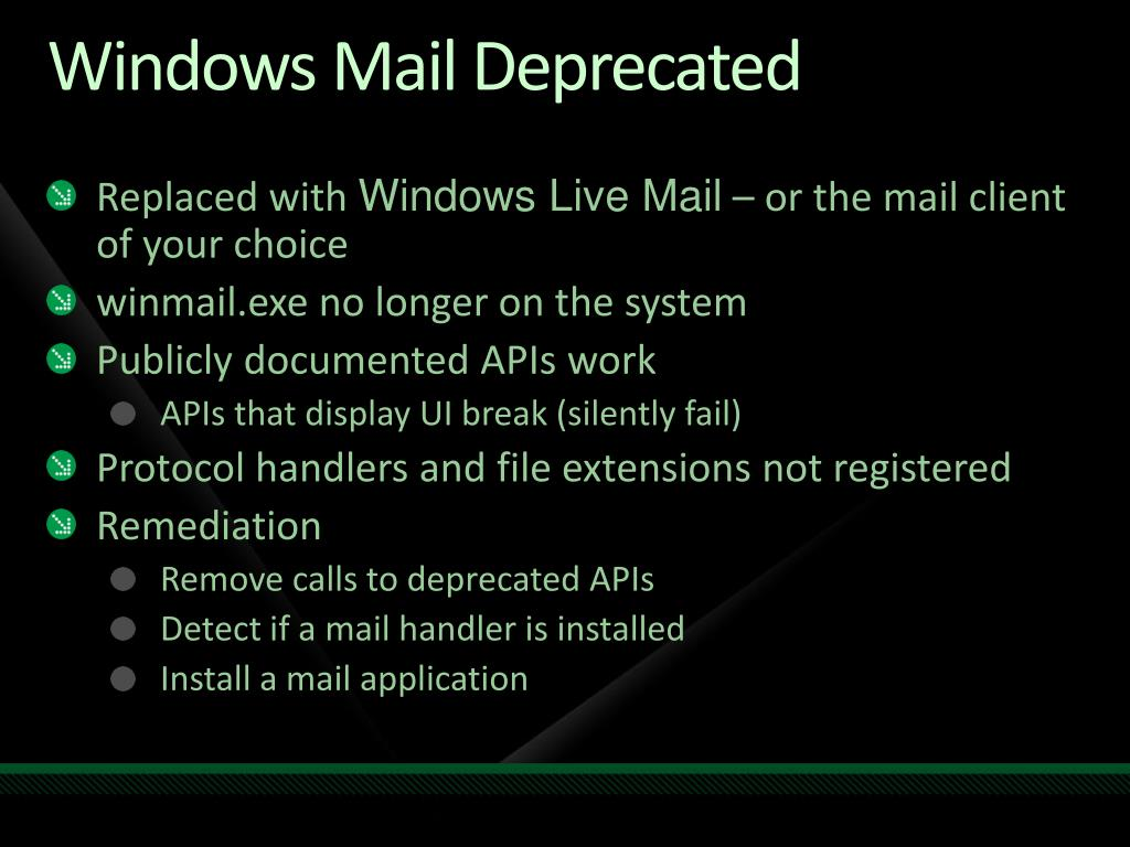 Windows Mail Deprecated