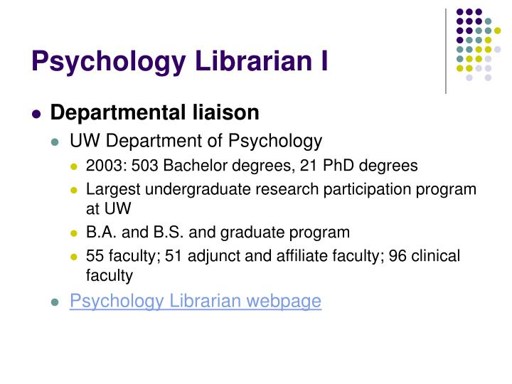 Psychology librarian i