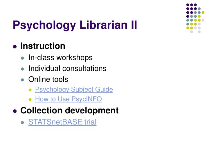 Psychology librarian ii