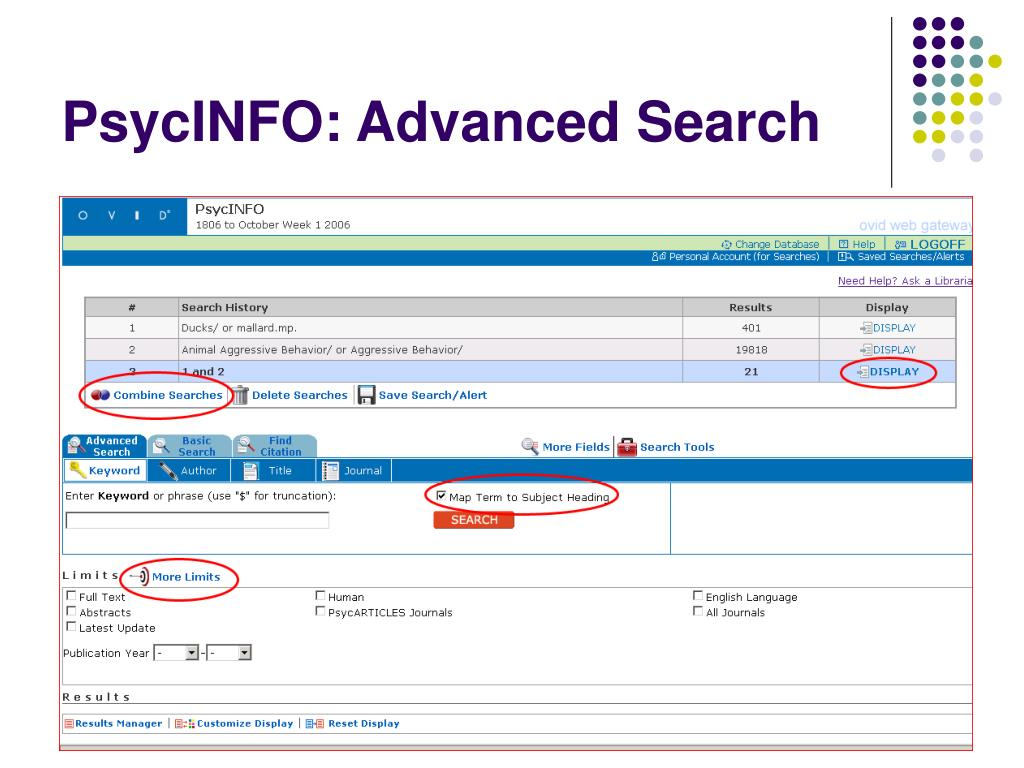 PsycINFO: Advanced Search