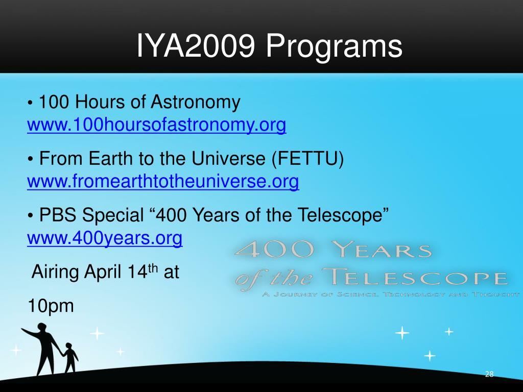IYA2009 Programs