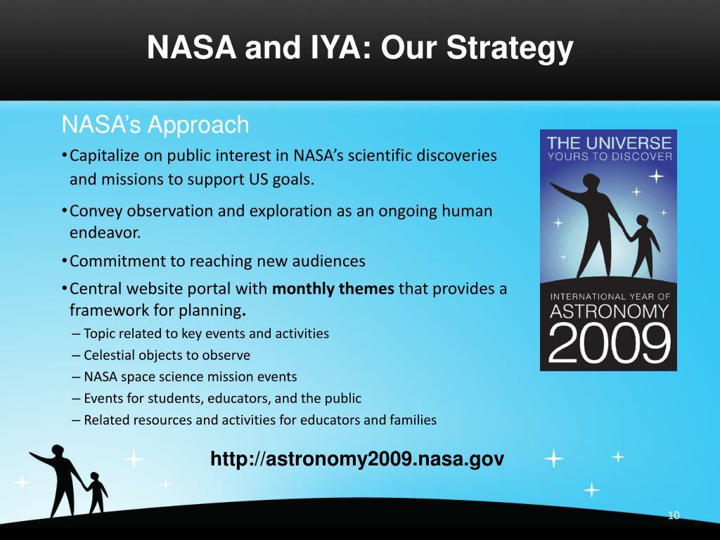 NASA and IYA: Our Strategy