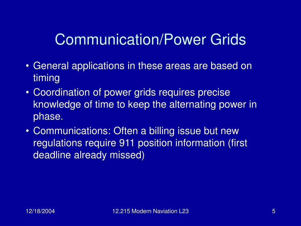 Communication/Power Grids