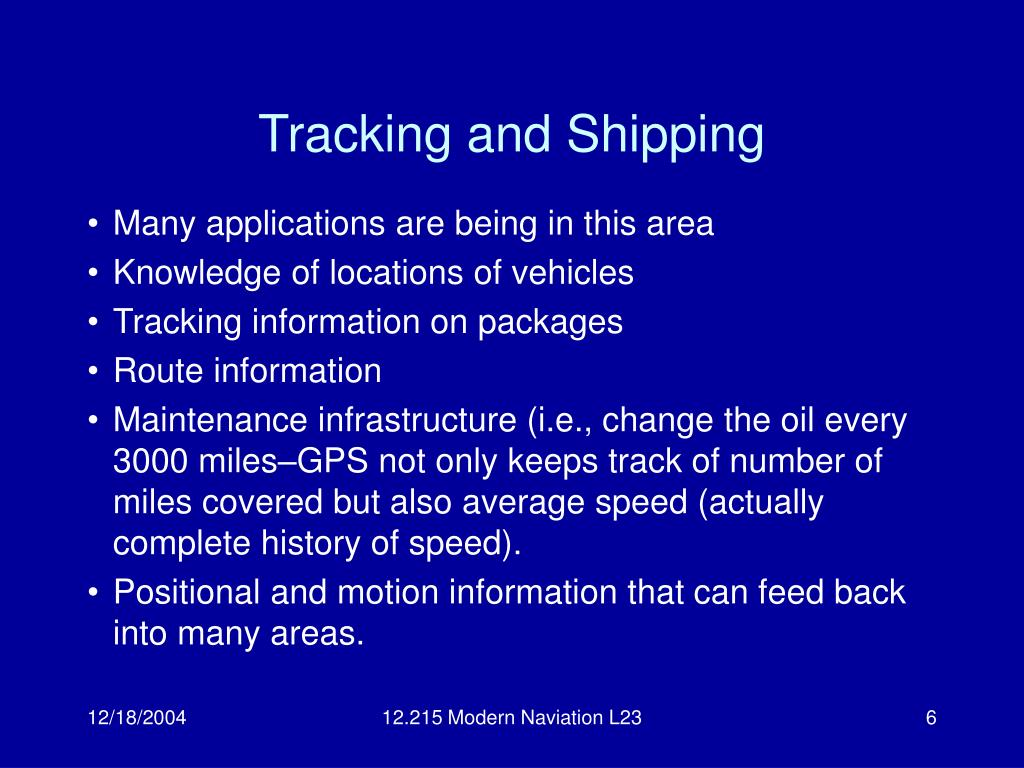 Tracking and Shipping