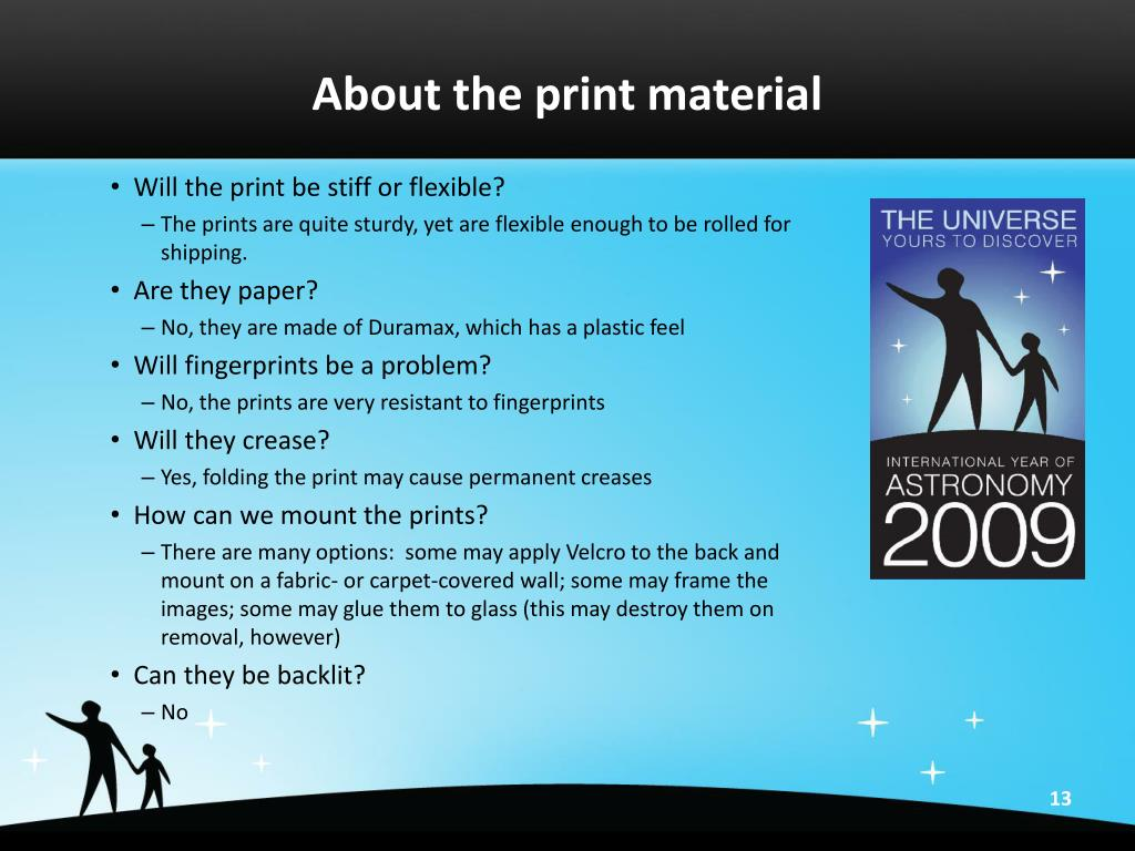 About the print material