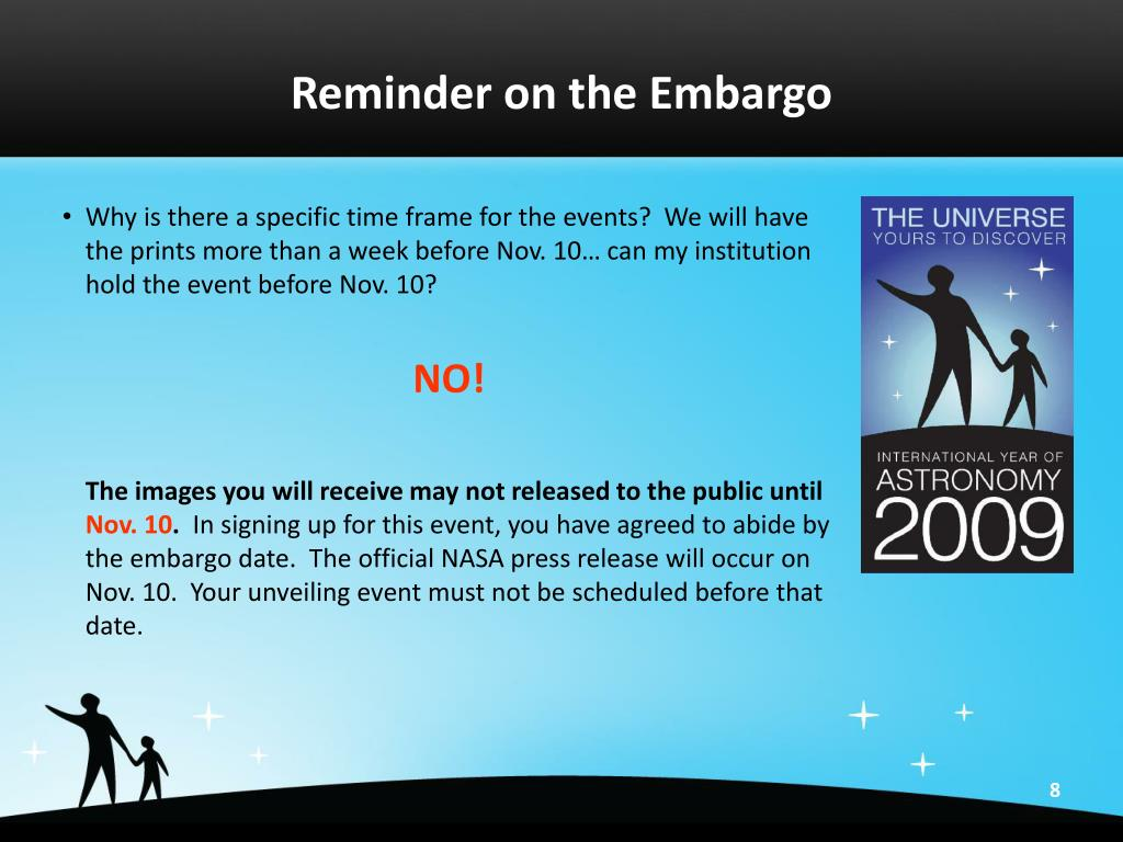 Reminder on the Embargo