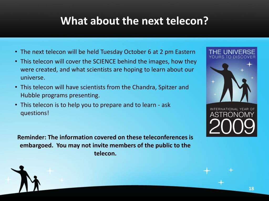 What about the next telecon?