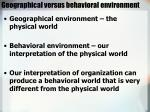 geographical versus behavioral environment