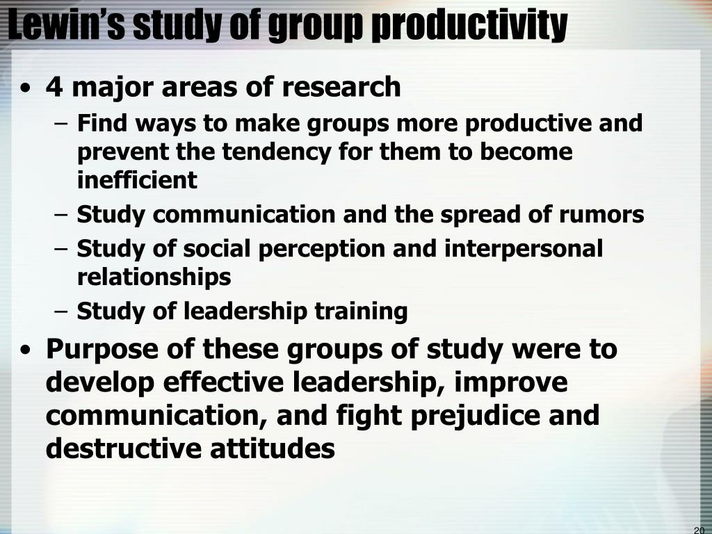 Lewin's study of group productivity