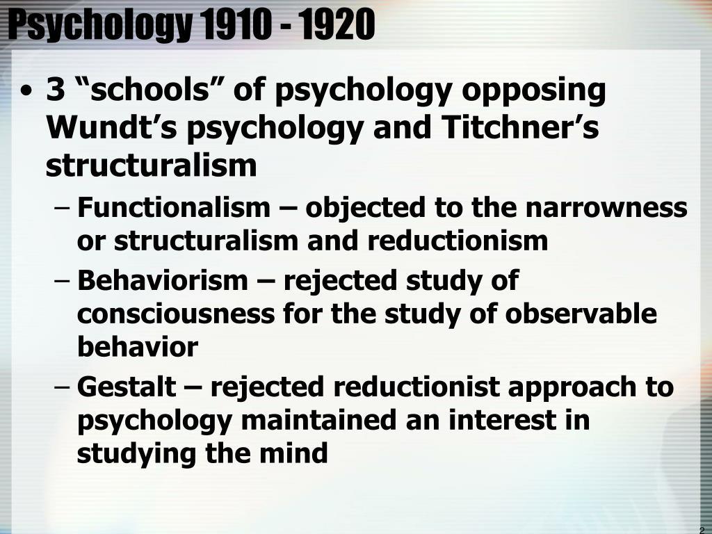 Psychology 1910 - 1920