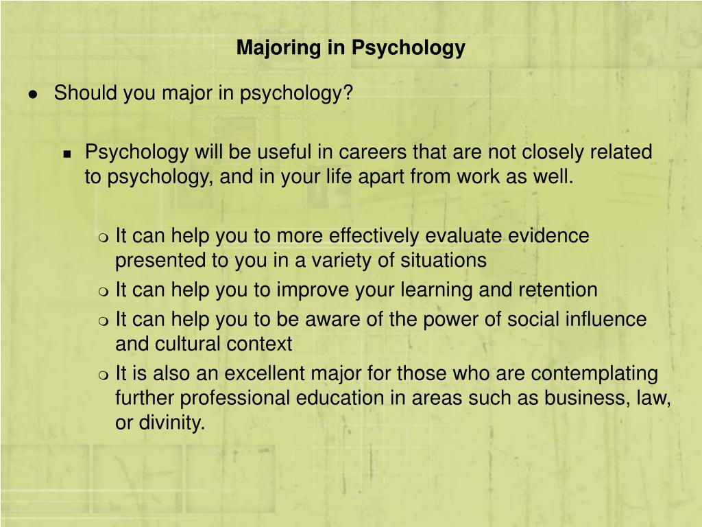 Majoring in Psychology