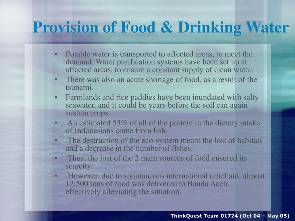 Provision of Food & Drinking Water
