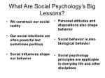 what are social psychology s big lessons