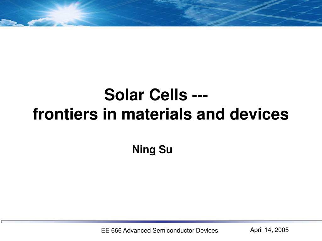 Solar Cells ---