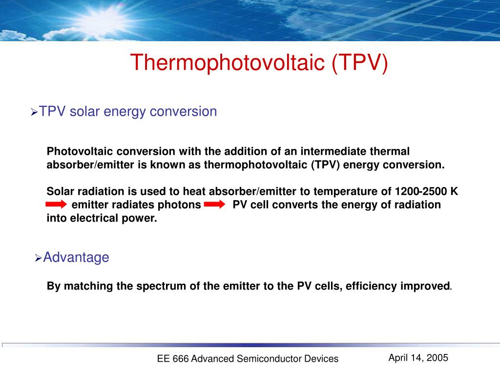 Thermophotovoltaic (TPV)