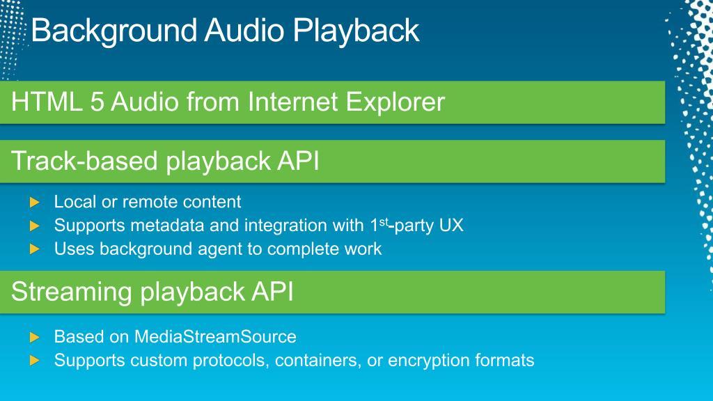 Background Audio Playback