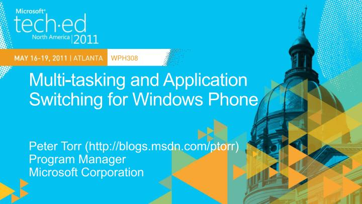 Multi tasking and application switching for windows phone
