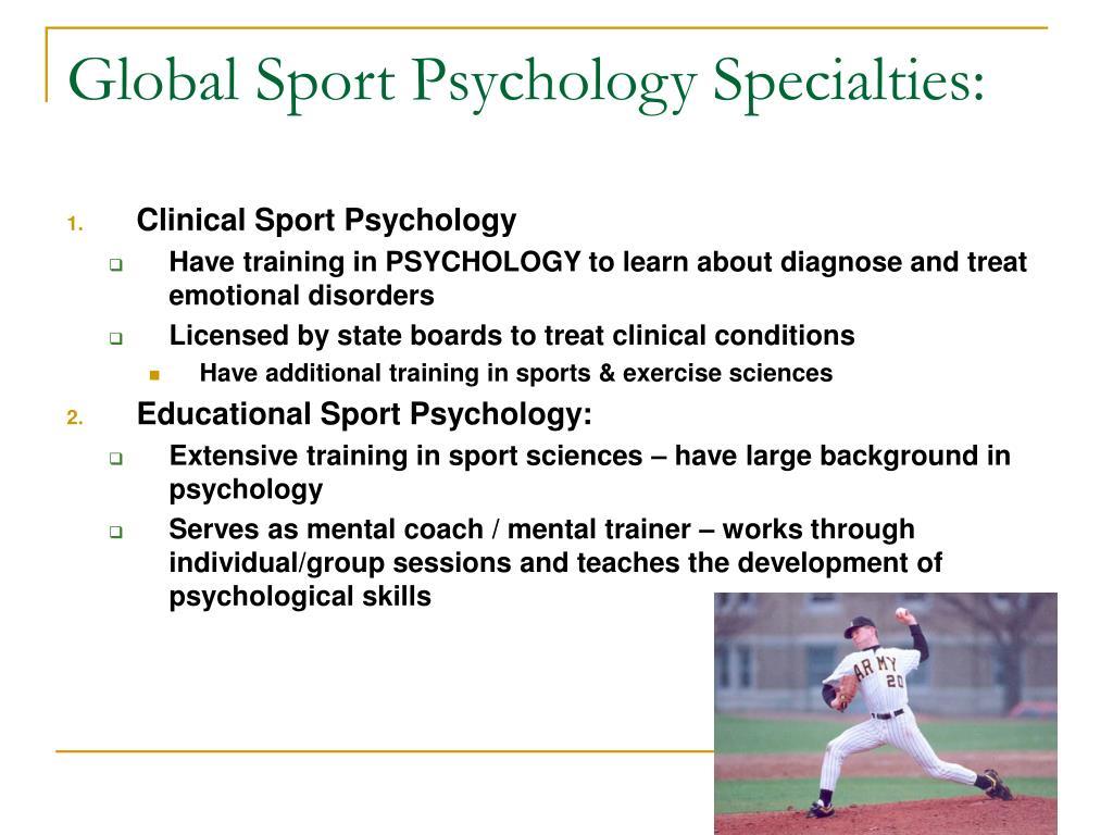 Global Sport Psychology Specialties:
