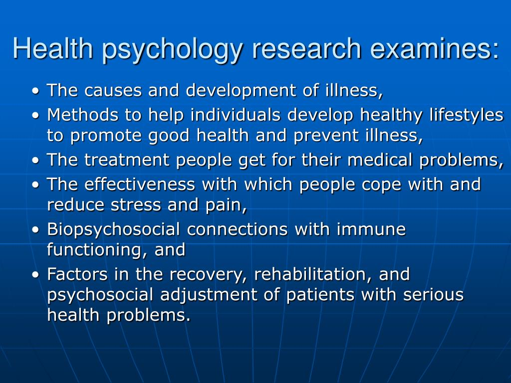 Health psychology research examines: