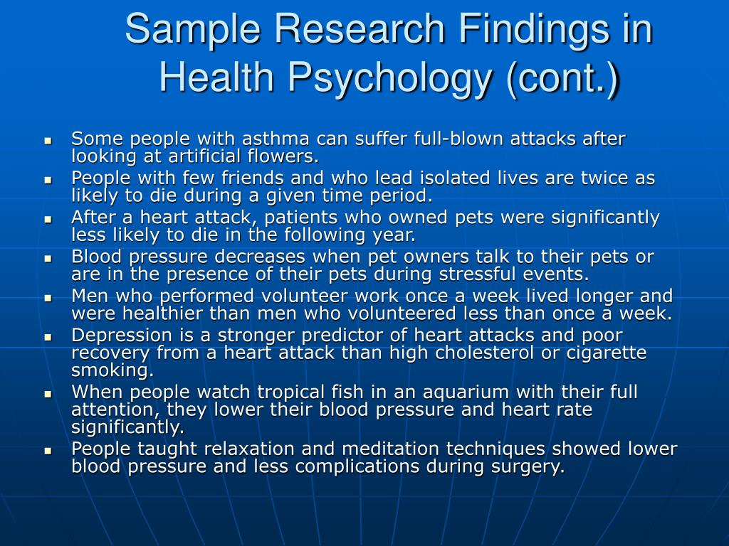 Sample Research Findings in Health Psychology (cont.)