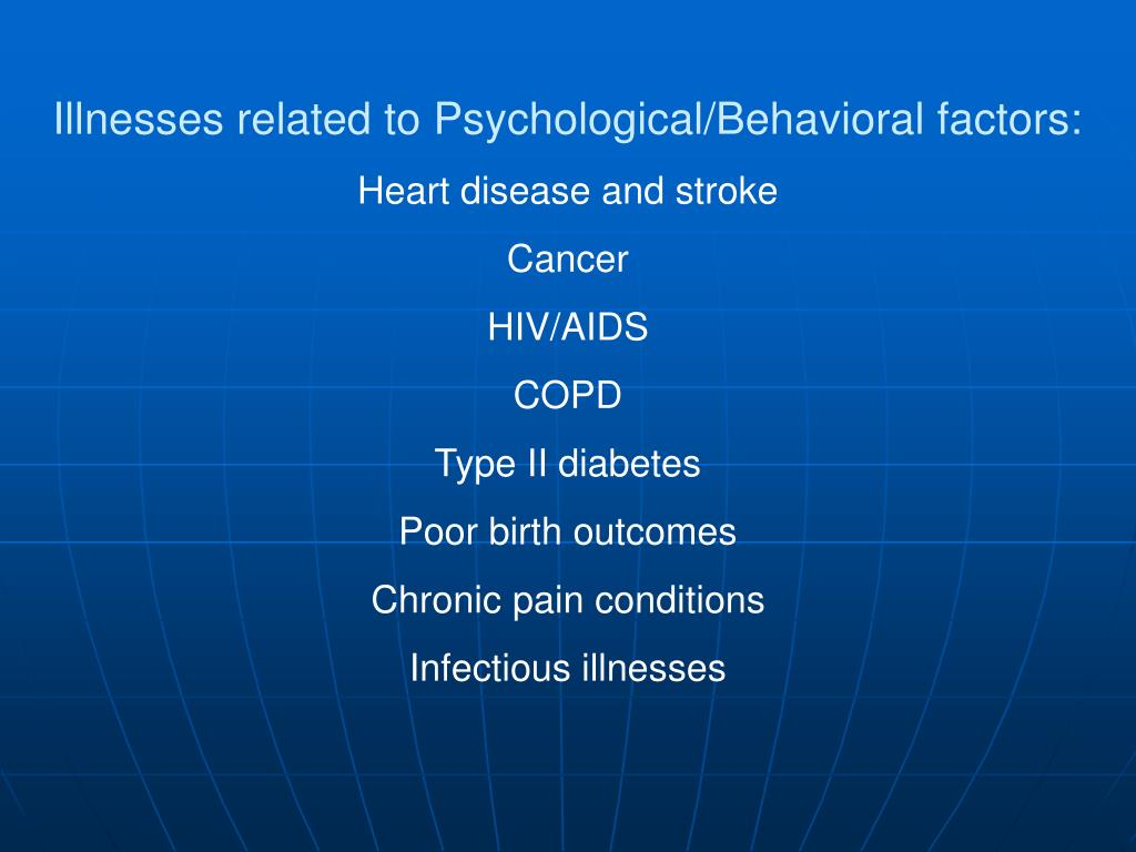 Illnesses related to Psychological/Behavioral factors: