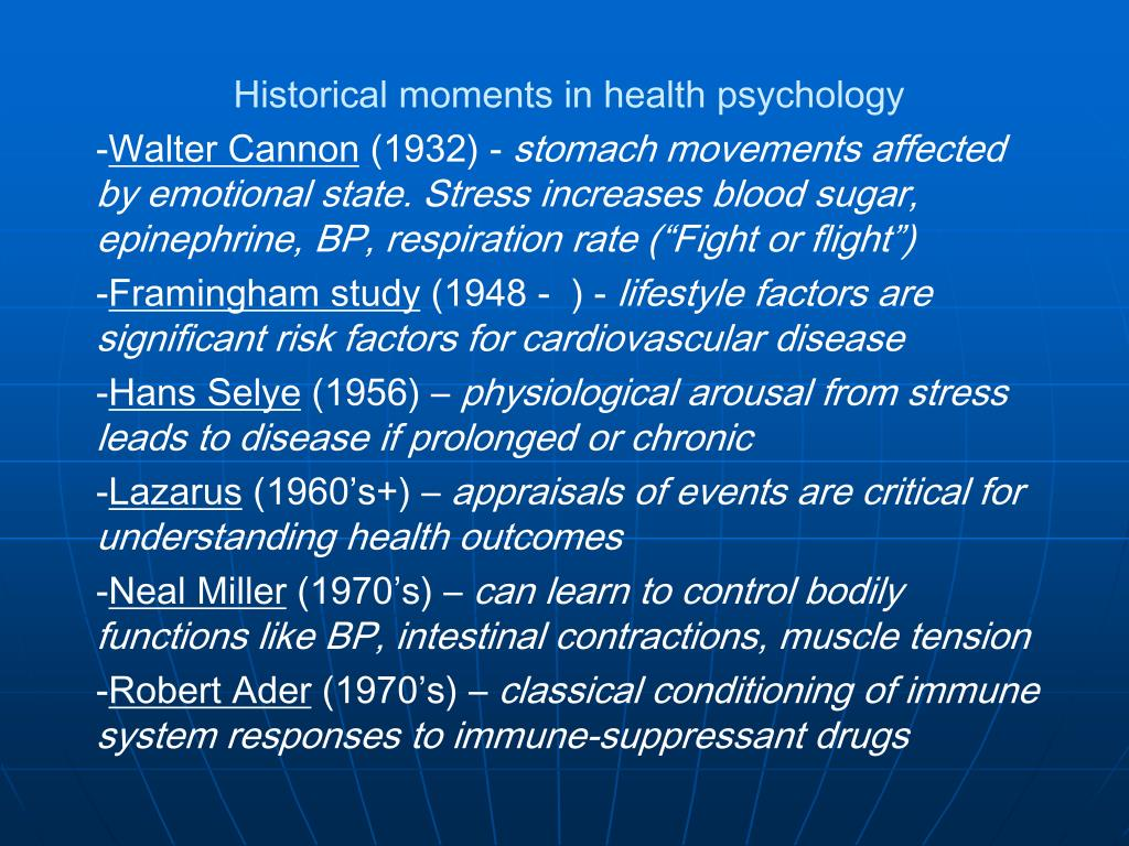 Historical moments in health psychology