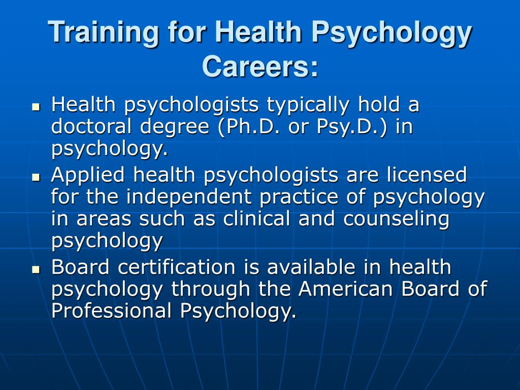 Training for Health Psychology Careers:
