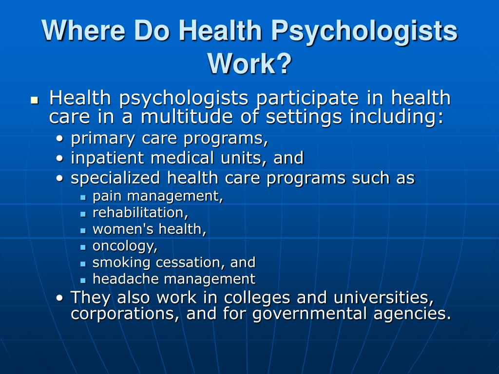 Where Do Health Psychologists Work?