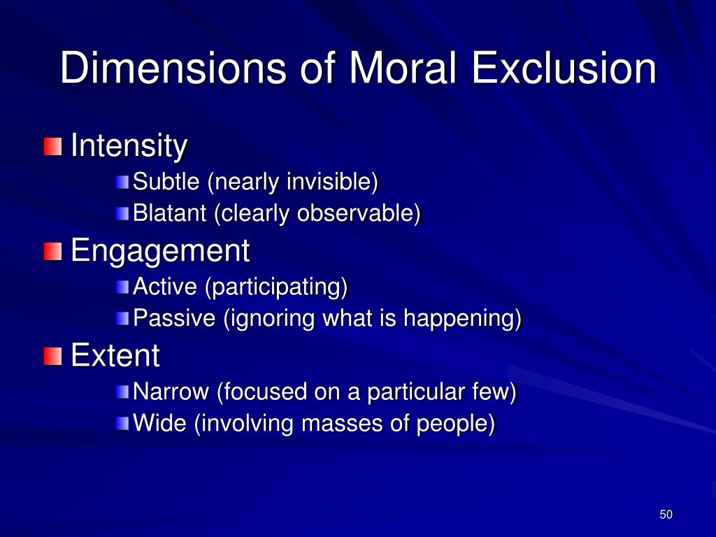 Dimensions of Moral Exclusion