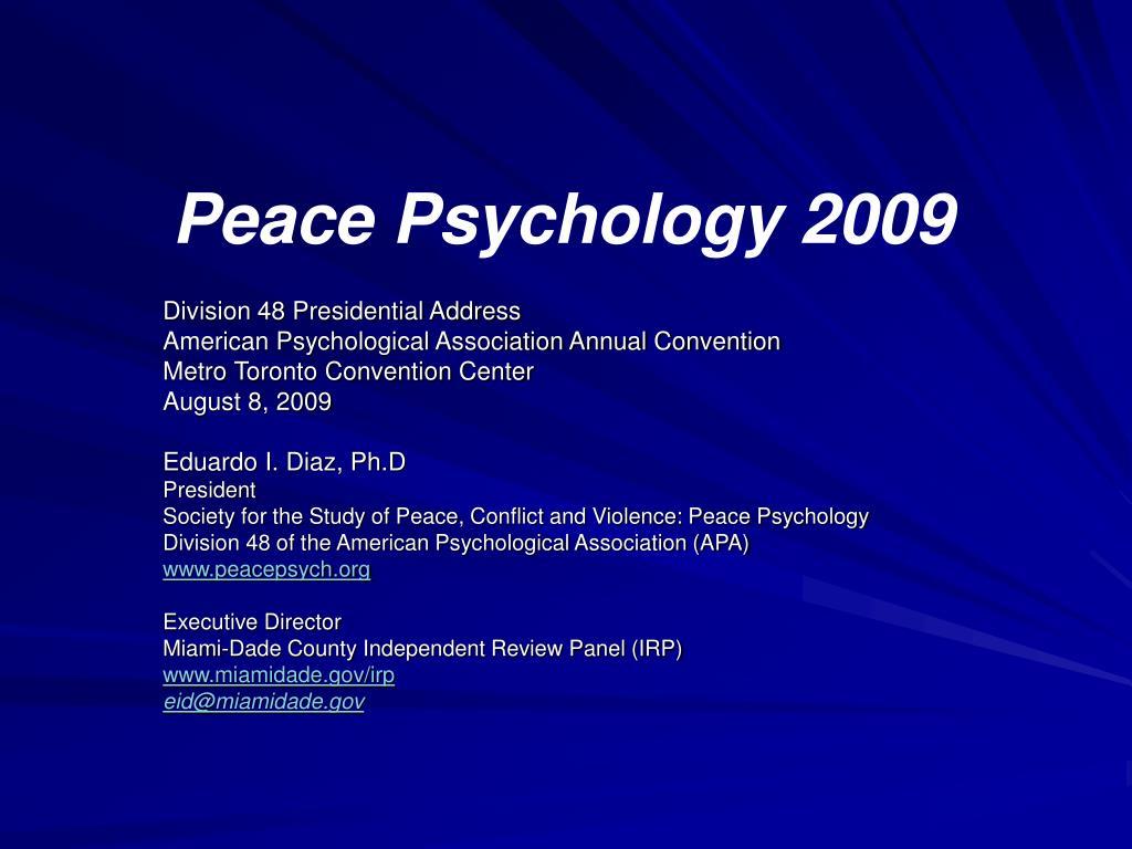 Peace Psychology 2009