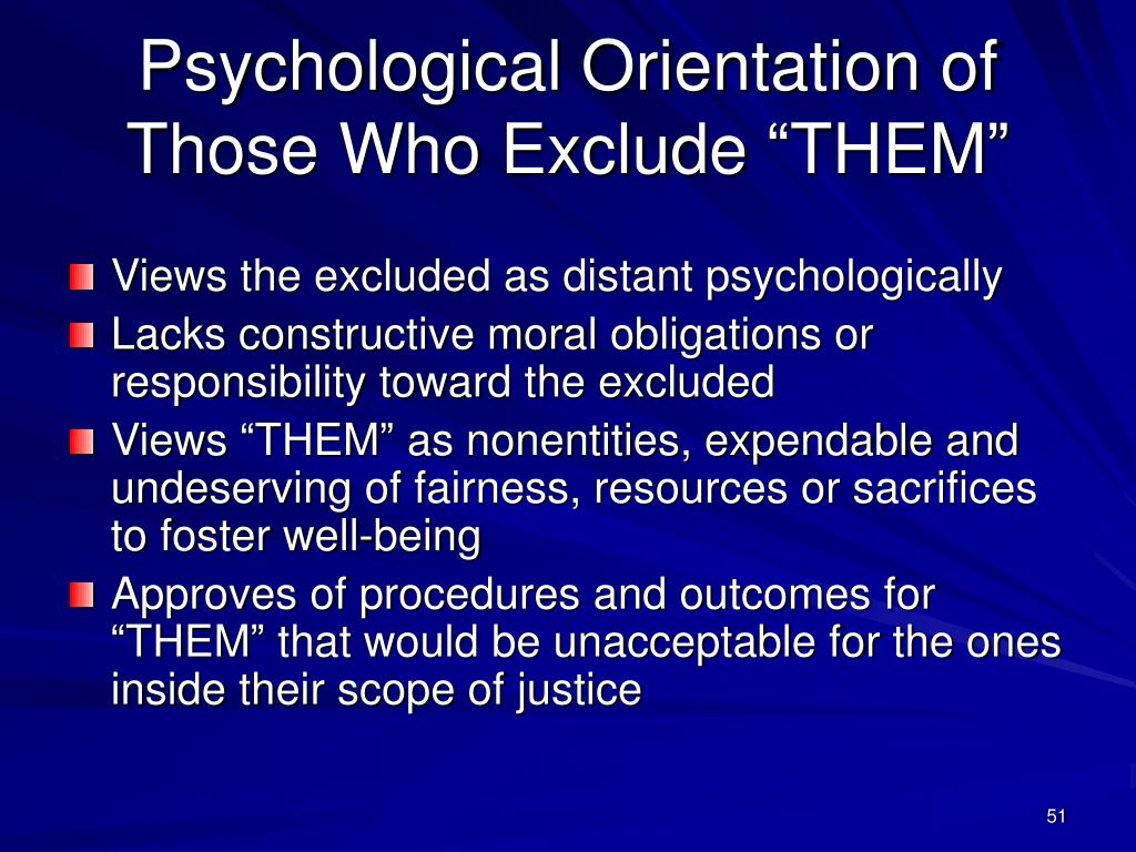 """Psychological Orientation of Those Who Exclude """"THEM"""""""