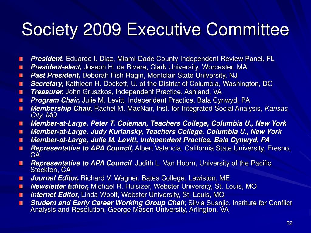 Society 2009 Executive Committee