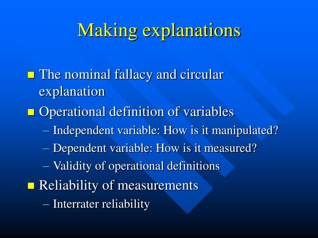 Making explanations