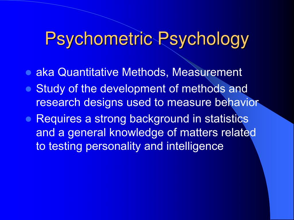 Psychometric Psychology