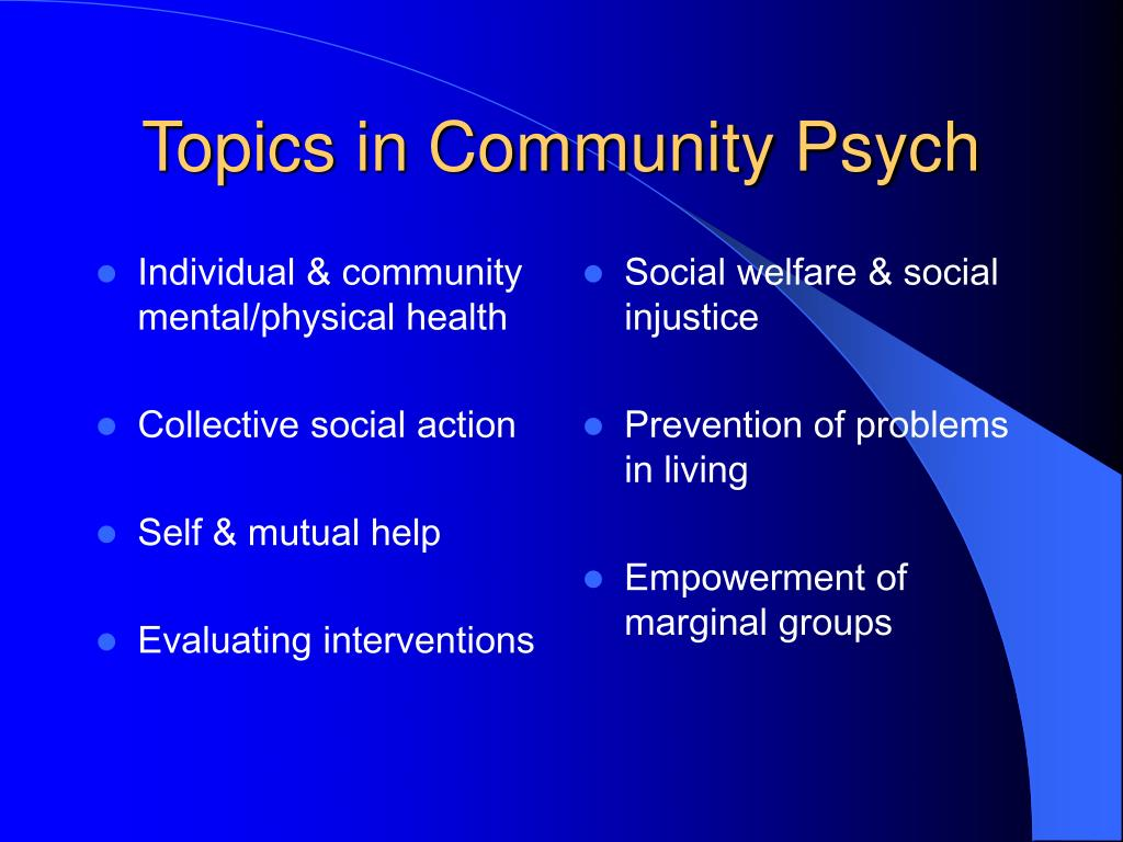 Individual & community mental/physical health