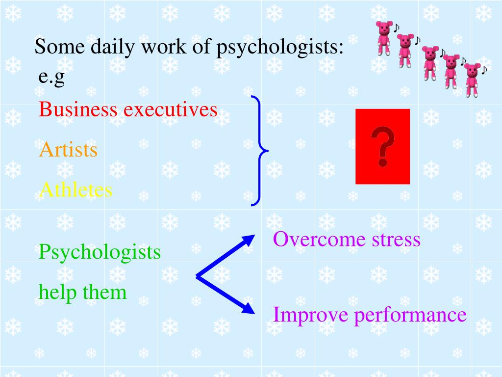Some daily work of psychologists: