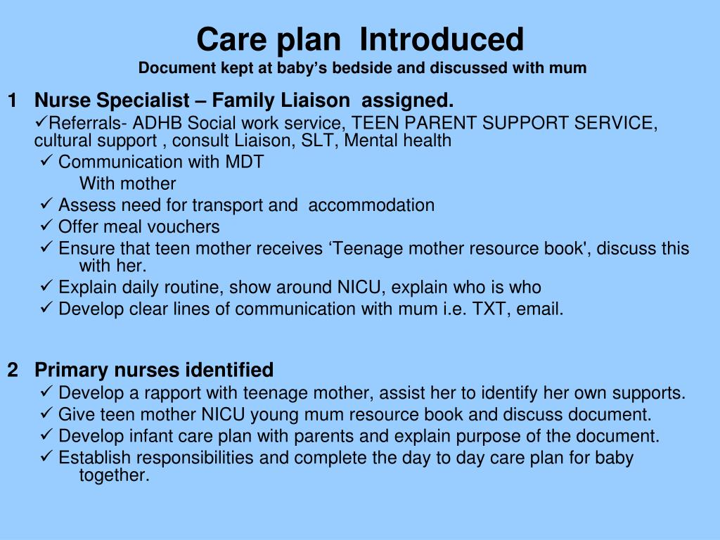Care plan  Introduced